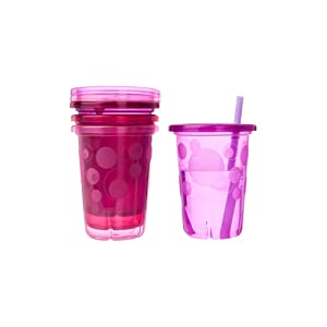 The First Years Straw Cup, Pink Take and Toss, 10 Ounce, 4-Count
