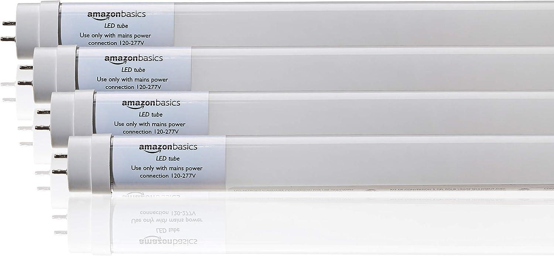 AmazonBasics Commercial Grade LED Tube Light, 5000K, 14W T8/T10/T12 Compatible, Ballast Bypass, Daylight, 4-Foot, 4-Pack (Renewed)