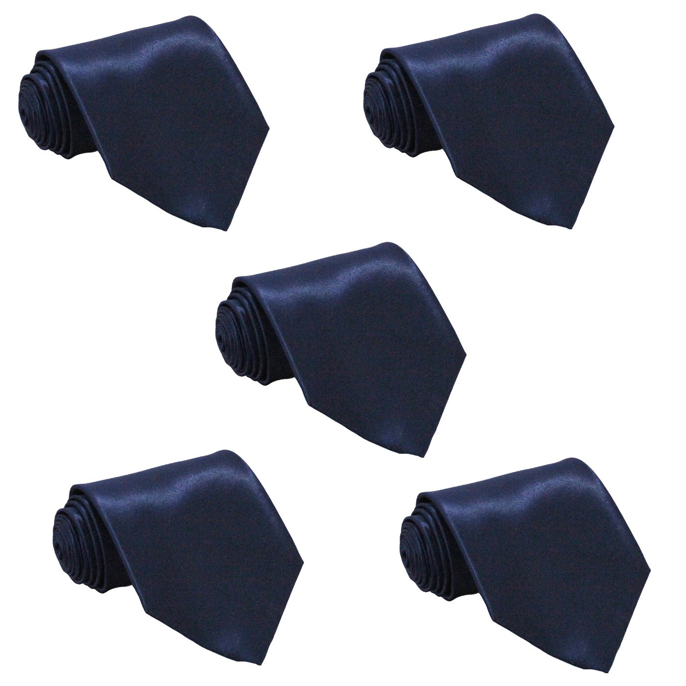 Mens Skinny Tie Wholesale Lot of 5 Mens Solid Color Slim Ties (Navy Blue)