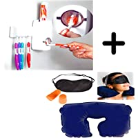 Combo of Jashn's Toothpaste Dispenser Automatic with 5 Toothbrush Holder and 3 in 1 travell Inflatable Pillow with Ear Bud and Eye mask
