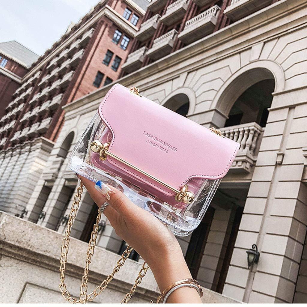Behkiuoda Women Transparent Square Bag Shoulder Bag Messenger Bag Hand Wallet Travel Bag