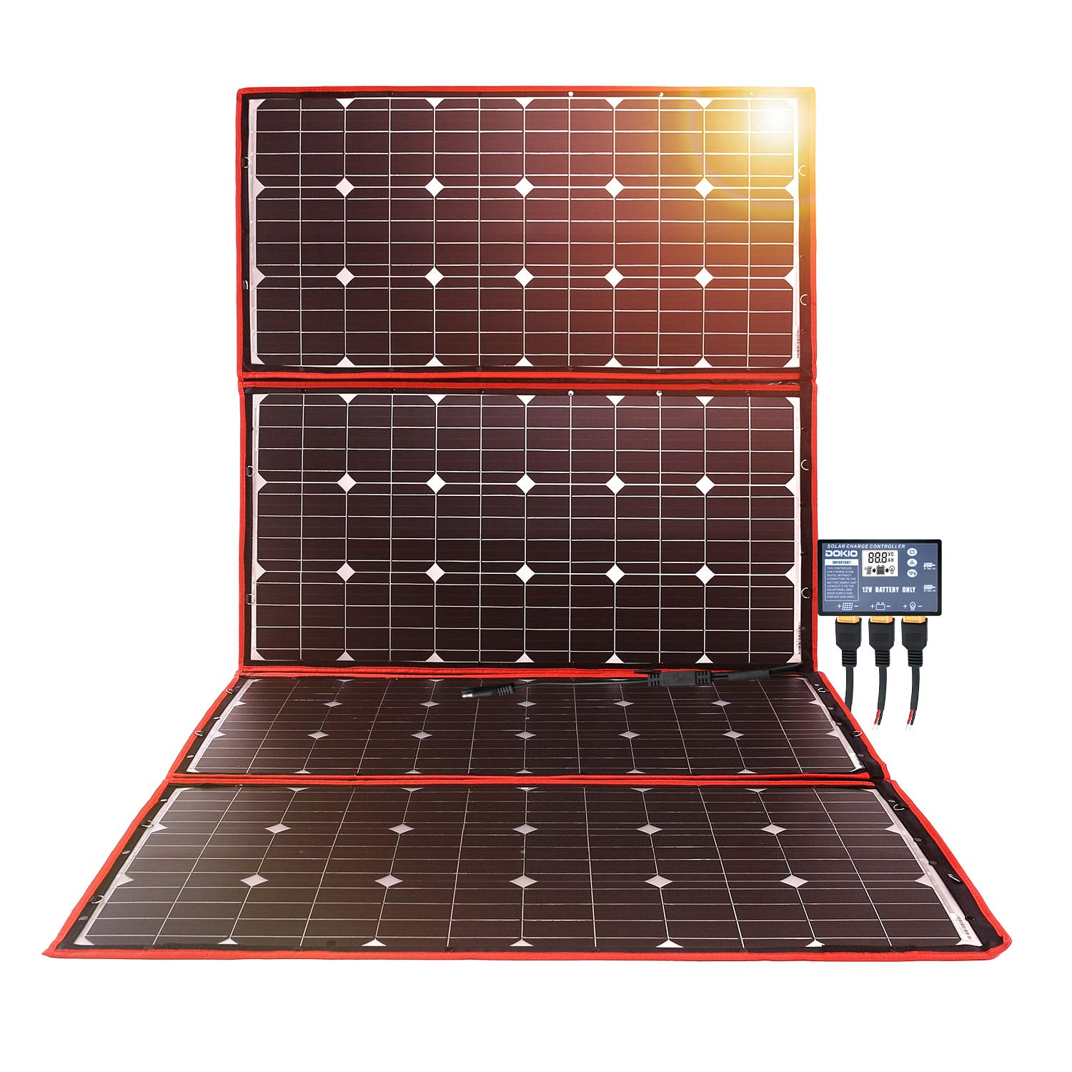 DOKIO 300w Solar Panel Kit Mono Portable Flexible Folding Include Solar Charge Controller and PV Cable for 12v Battery Charging Camper Van by DOKIO