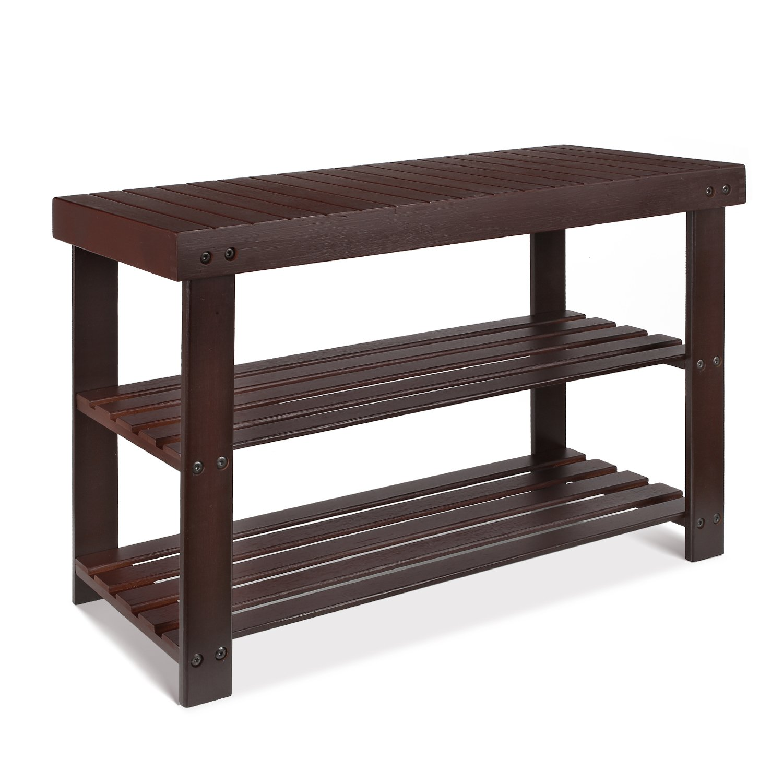 HOMFA Bamboo Shoe Rack Bench 3-Tier, Shoe Organizer, Storage Shelf, Good Load Bearing, Ideal for Entryway Hallway Living Room and Corridor Retro color by Homfa