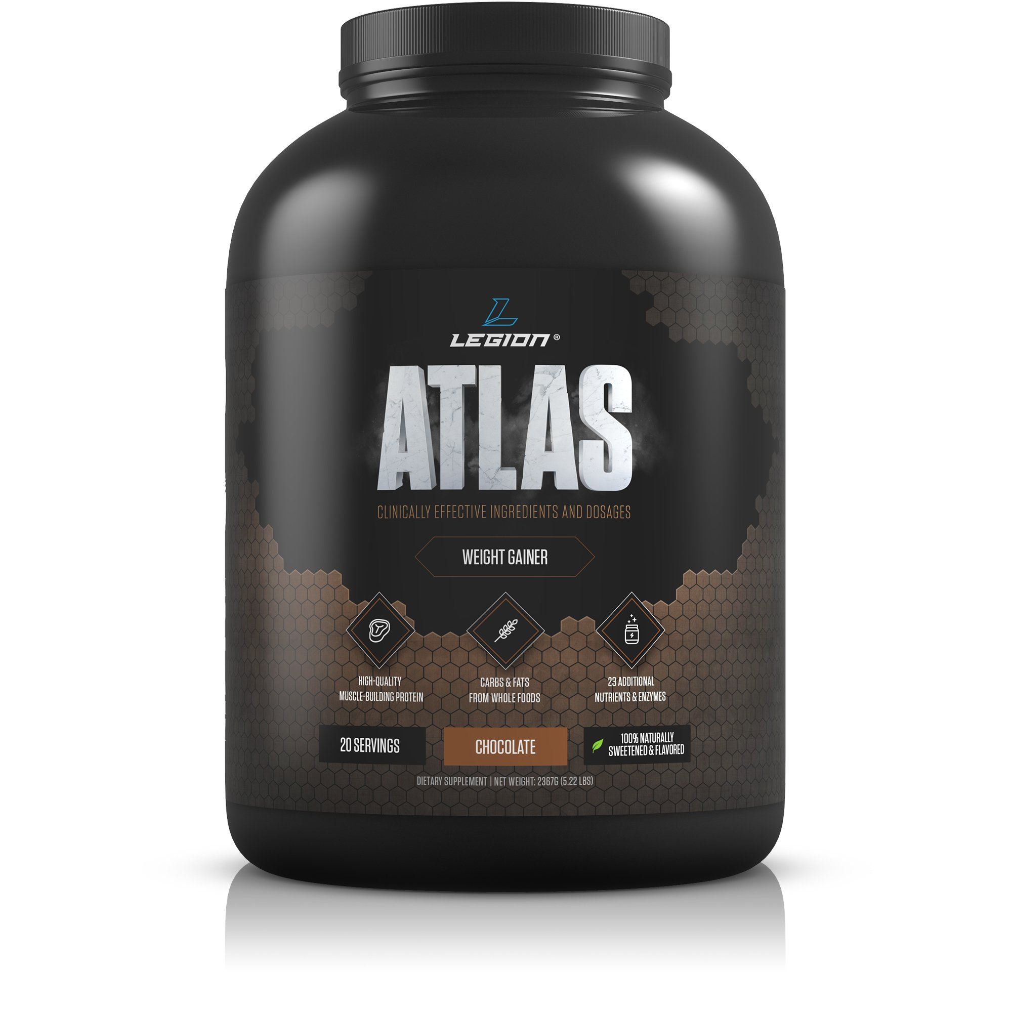 Legion Atlas Weight Gainer Supplement - Healthy Meal Replacement Shake with Grass Fed Whey Protein Isolate & Micellar Casein, Naturally Sweetened & Flavored, Chocolate, 5.22 lbs