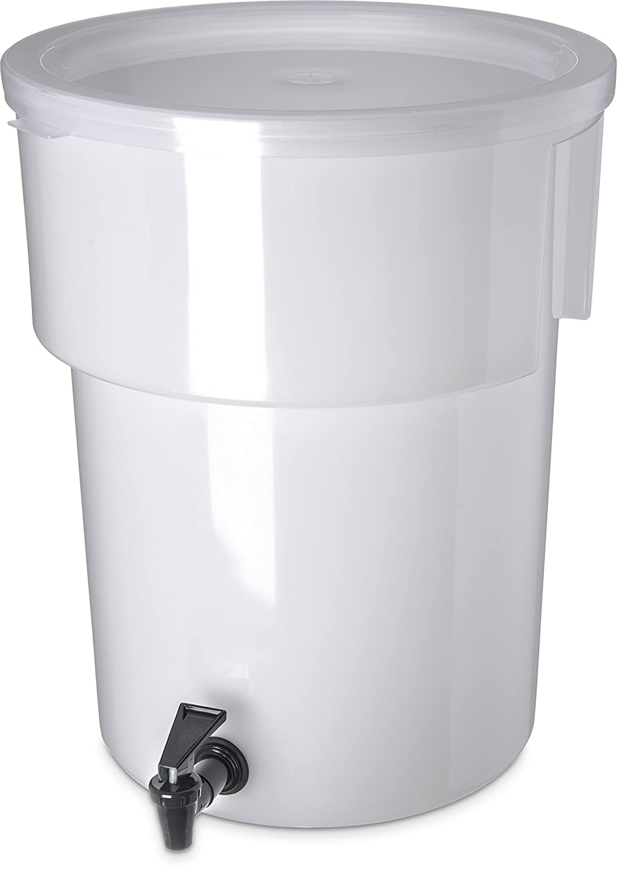 "Carlisle 221002 Polyethylene Round Beverage Dispenser, 5 gal. Capacity, 12-3/8"" Dia. x 15-7/16"" H, White"