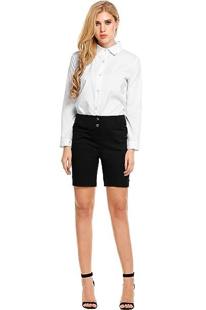 Amazon.com: De la Mujer Mid Rise algodón Casual pantalones ...