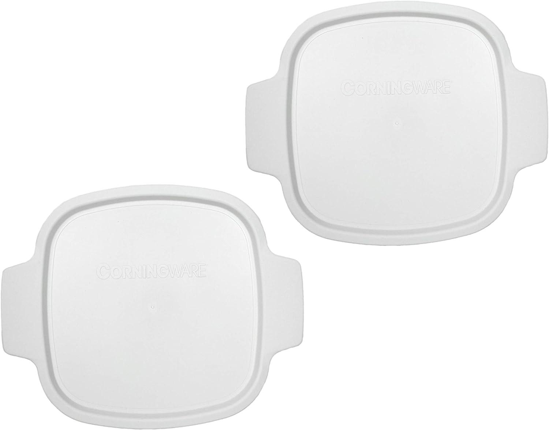 CorningWare Stovetop A-1-PC 1.5 Quart Square White Plastic Lid - 2 Pack