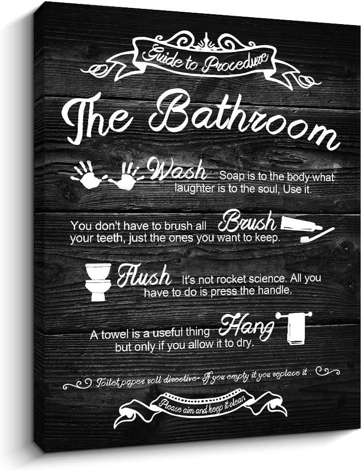 "Bathroom Rules Sign Rustic Woodgrain Background Canvas Prints Art Wall Decor (Bathroom Rules-Black, 12""x16"")"