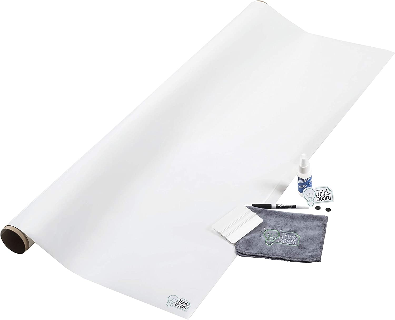 Think Board Premium - 4'x12' White – Ultra-Removable Adhesive Whiteboard Wall Sticker - Peel and Stick Dry Erase Board for Office, Home, & Classroom - Erasable Stain-Proof Message Board (48