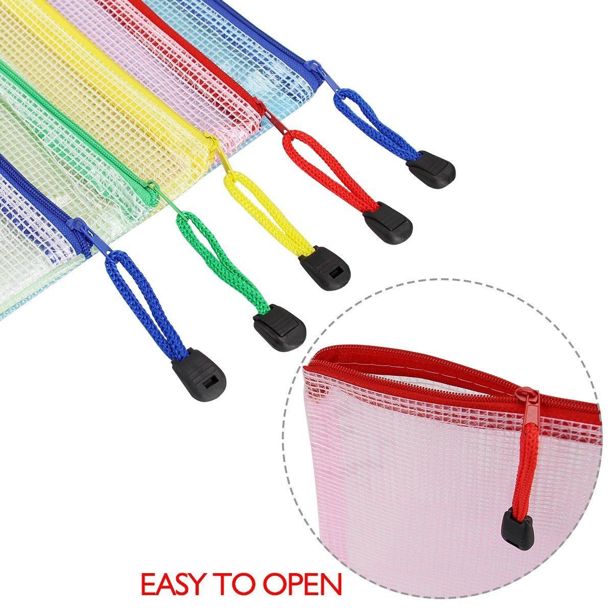 Rocita 12Pcs Zipper File Bags A4 Size Mesh Document Bags Office School Storage Pouches for Document Business Receipts Organization - 5 Color