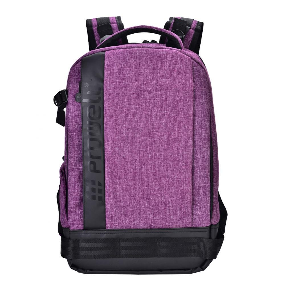 Acouto PROWELL Waterproof Camera Backpack Shockproof DSLR Travel Camera Padded Bag Backpack for Canon, Nikon, Sony, Olympus, Samsung, Panasonic, Pentax Cameras(Removable Interior) (Purple)