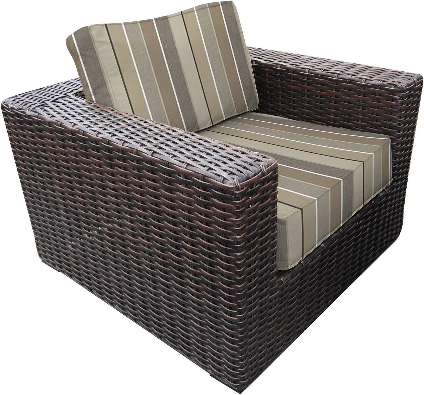 Amazon Com Envelor Santa Monica Outdoor Patio Furniture Club Chair Lightweight Wicker Rattan Base Includes Milano Char Sunbrella Cushions Garden Outdoor