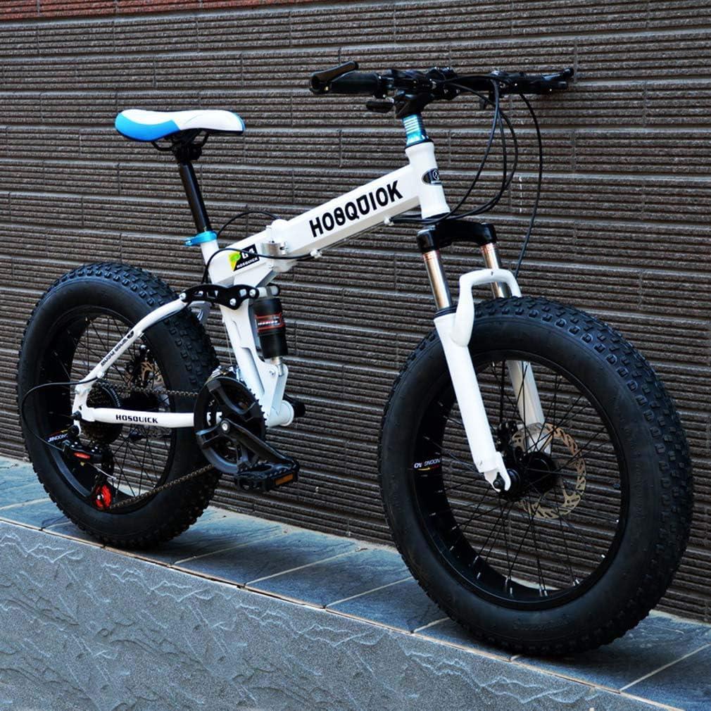 AISHFP Bicicleta de montaña Fat Tire para Hombre, Bicicletas de Crucero con Doble Disco de Freno/Marco de Acero de Alto Carbono, Bicicleta de Nieve de 7 velocidades, Ruedas aleación de Aluminio: Amazon.es: