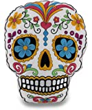 White and Pink Brightly Colored Embroidered Sugar Skull Accent Pillow
