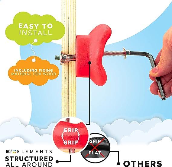 GO!elements presas de Escalada Kids Set Outdoor Incl. Material de fijación | Piedras de Escalada para Paredes | Piedras de Colores para Torres de ...