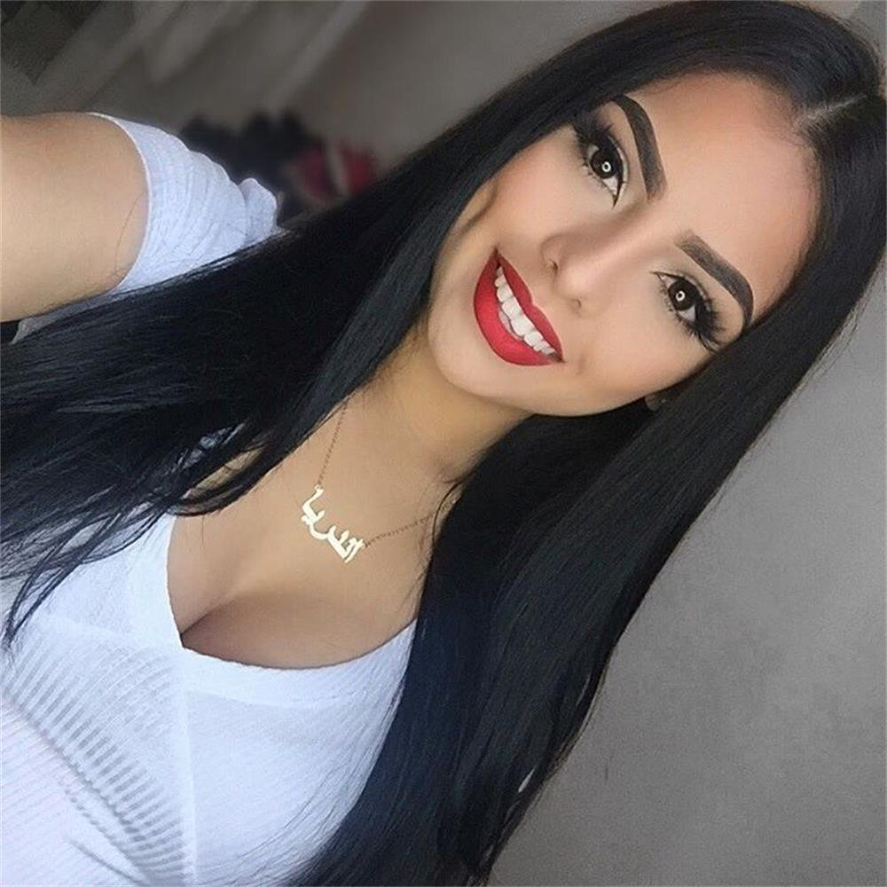 AISI HAIR Straight Long Black Wig Middle Part Synthetic Hair Natural Looking Full Wig Heat Resistant Fiber Wigs for Black Women