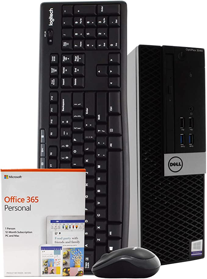 Dell OptiPlex 3040 PC Desktop Computer, Intel Quad Core i5-6500, 8GB RAM, 1TB HDD, Windows 10 Pro, Microsoft Office 365 Personal, New 16GB Flash Drive, Wireless Keyboard & Mouse, DVD, WiFi (Renewed)   Amazon