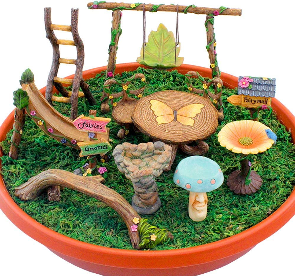 NW Wholesaler Fairy Garden Deluxe Day in The Park 12 Piece Kit - Set of Twelve Miniature Fairy Garden Supplies, Accessories, Toys, and Furniture
