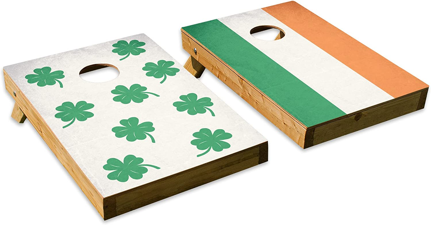 Lucky Irish FlagデザインCornhole/Bean Bag Tossボードセット – Made in USA木製 – 2 ' x3 'テールゲートサイズ – Includes 8 corn-filled Beanバッグ  Tailgate