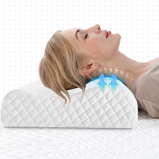 NOFFA Almohada Cervical Suave, Almohada de Espuma de latxe, Almohada de Contorno ortopédica para Apoyo de Cuello Alivio del Dolor tamaño estándar (55 ...