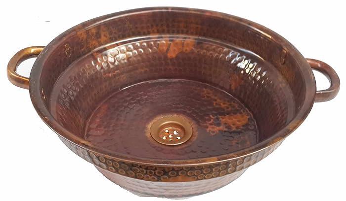Amazon.com: Egypt gift shops Round Textured Enamel Coat Copper Bath ...