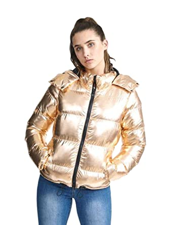 626b641d0f Amazon.com: Love My Fashions Ladies Brave Soul Rose Gold Padded Full Sleeve  Black Zipper Winter Hooded Jacket Sizes 8 16: Clothing