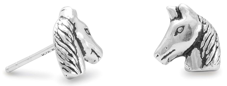 5//16 inch Oxidized Sterling Silver Stud Earrings Horse Head