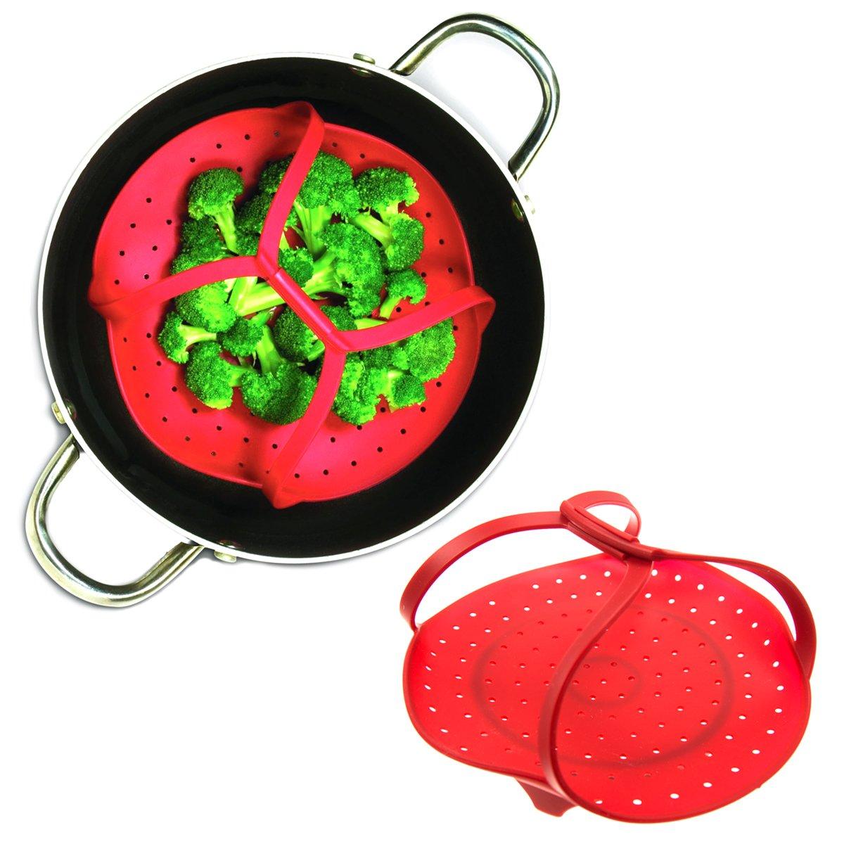 2 Pack Tovolo Silicone Steamer Basket Handle Vegetables Food Pressure Cooker Insert