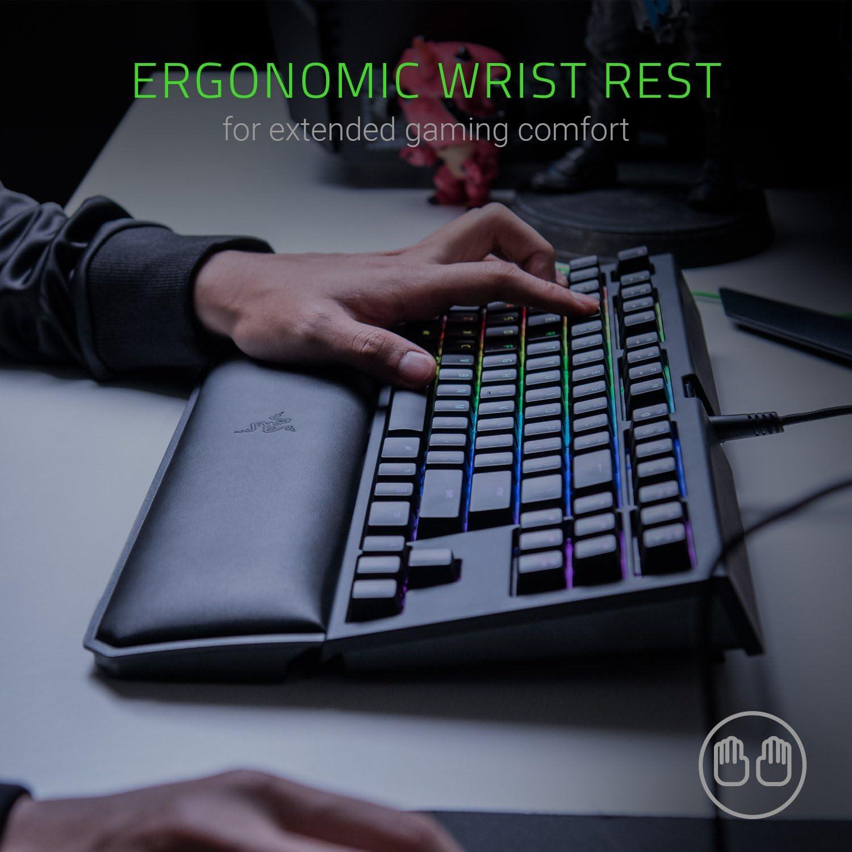 Magnetic Wrist Rest Chroma RGB Lighting Razer BlackWidow TE Chroma v2 Mechanical Gaming Keyboard: Green Key Switches Classic Black Tactile /& Clicky Programmable Macro Functionality