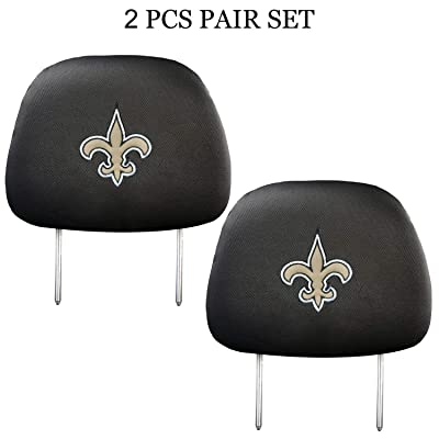 99 Carpro New Orleans Saints Black Slip Over Embroidered Head Rest Cover Set Universal Car Interior Accessories Fit for Toyota, Jeep, Ford, Lexus, Cadillac, BMW, Audi, 2 Pack: Automotive