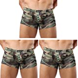 L'ASHER Men's Sexy Army Camouflage Low Rise U Pouch Briefs Bulge Underwear Boxer Briefs