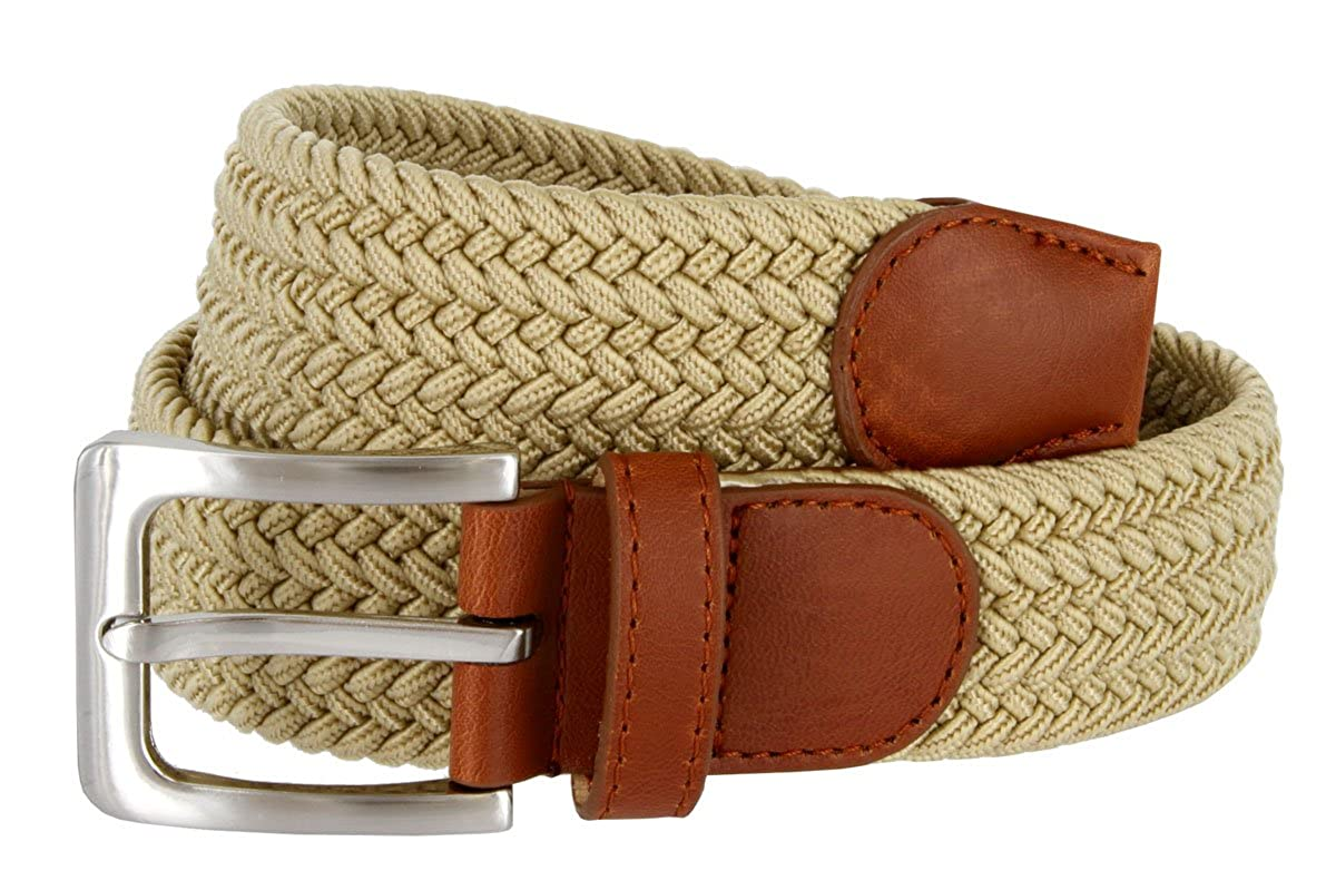 Womens Braided Elastic Fabric Woven Stretch Belt Leather Inlay Beige, X-Large