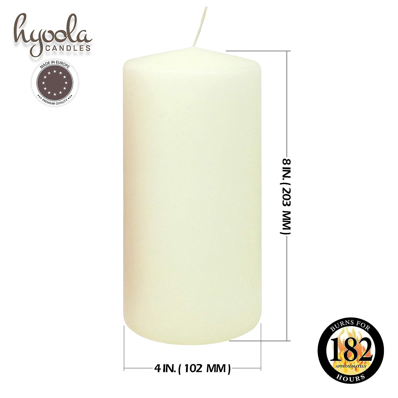 Hyoola Lot de 2 Bougies Pilier Non parfum/ées Ivoire 10,2 x 20,3 cm