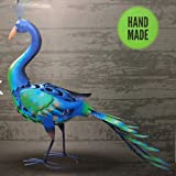 A2Z Home Solutions Attractive Handmade Metal Peacock Garden Ornament   Hand  Painted Outdoor Sculpture