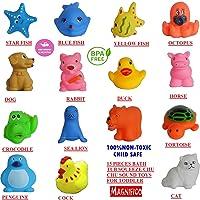 MAGNIFICO Non-Toxic Plastic Animal Shape Soft ChuChu Bath Toys for Kids (Multicolour) - Set of 15