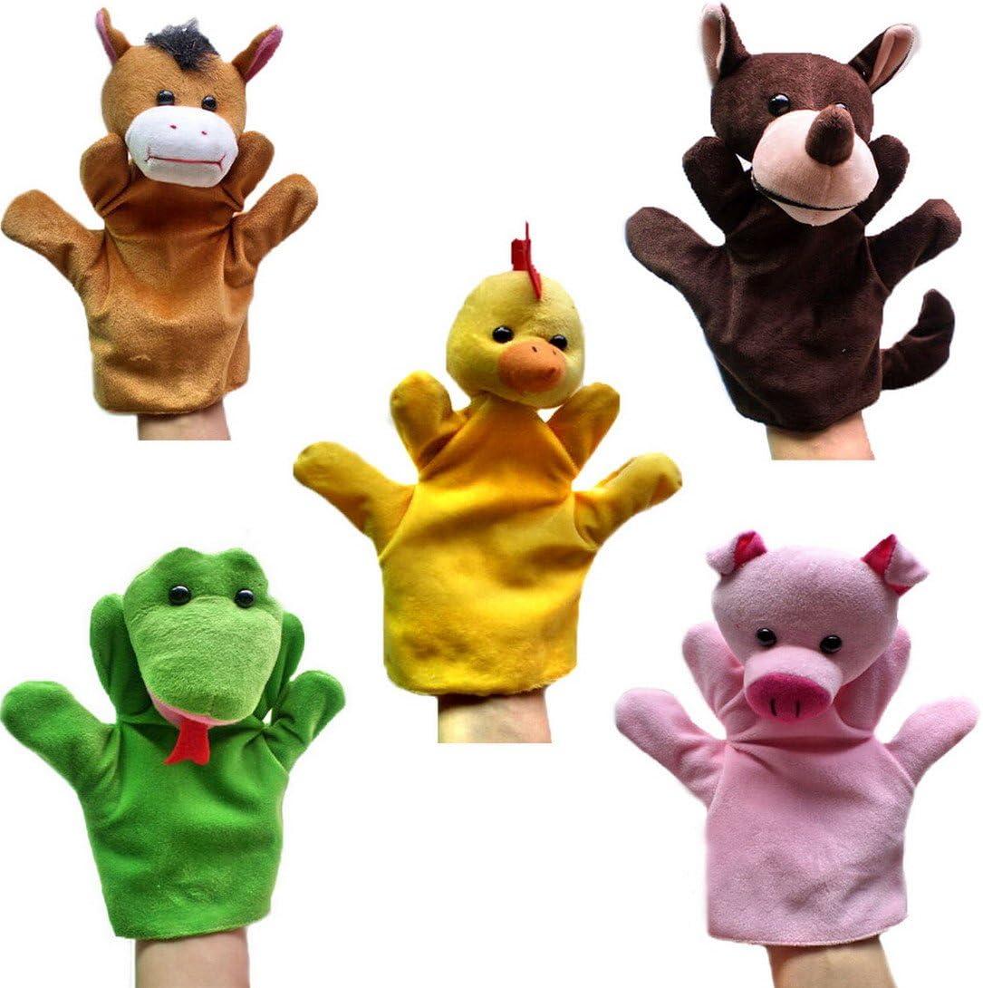 Happy Cherry - (Set de 5 Marionetas de Manos Juguetes de Peluche Animales para Niños niñas Bebes Cuentacuentos - Caballo/ Serpiente/ Lobo / Gallina / Cerdo