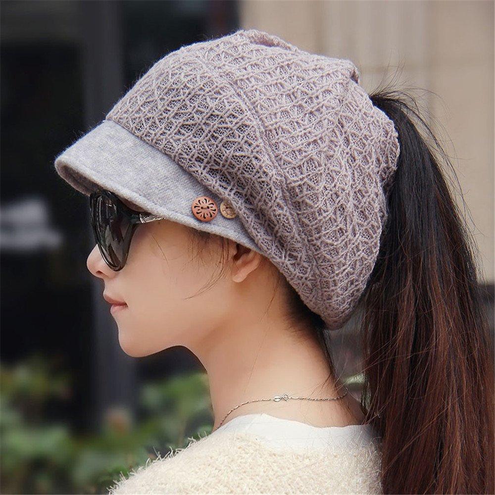 BTBTAV Ms. Winter Knitted hat Cap Women Children Bonnet Ponytail Cap Cap Cap Hat Lady Ear Basin Fisherman for 55-58CM About Head Circumference, Adjustable,Adjustable 54-58CM or so,Light Grey