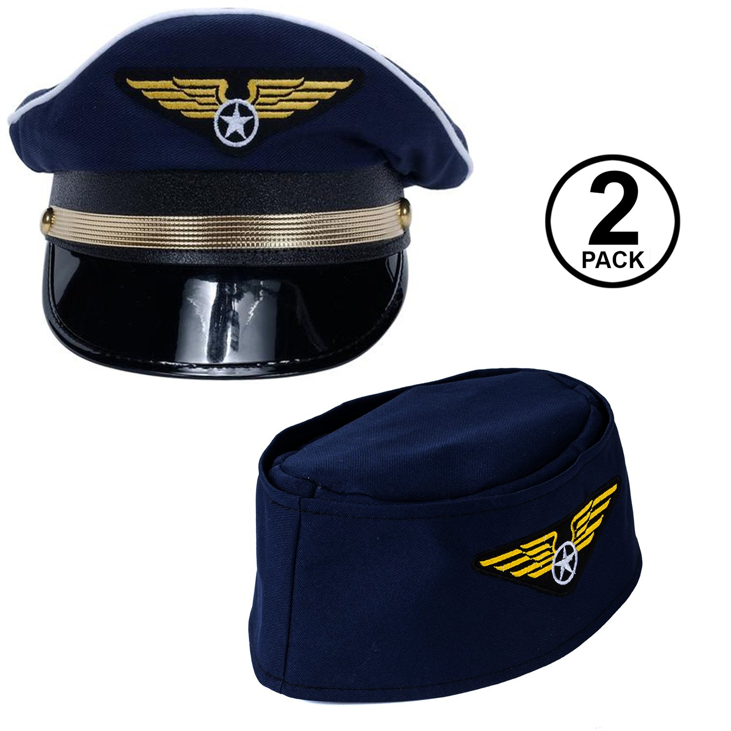 18c943a7c12 Amazon.com  Tigerdoe Pilot Hat - 2 Pack - Captain Pilot Hat - Pilot and Flight  Attendant Costume - Couples Costumes  Clothing