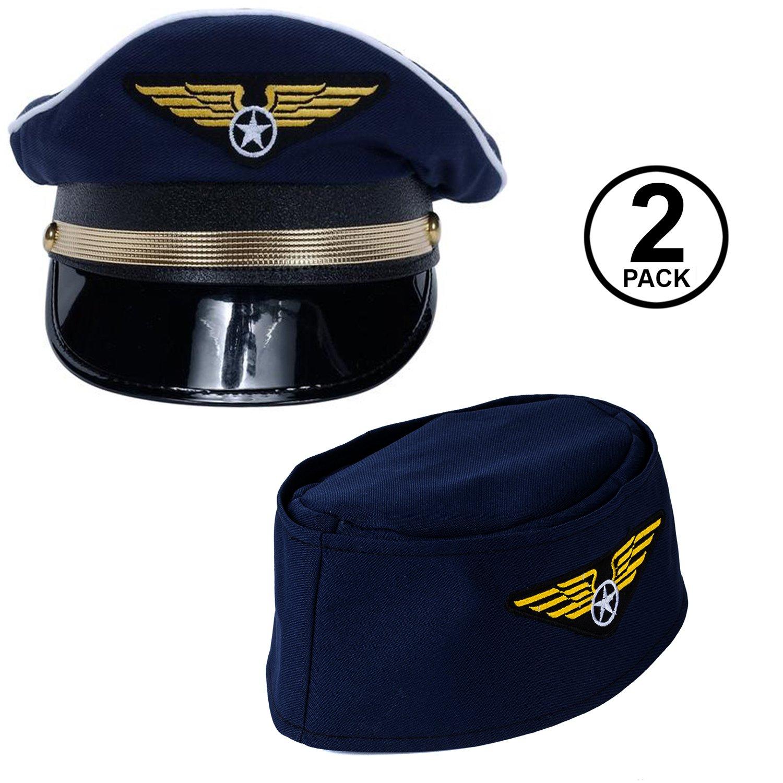 Amazon.com  Tigerdoe Pilot Hat - 2 Pack - Captain Pilot Hat - Pilot and  Flight Attendant Costume - Couples Costumes  Clothing fd7fa9368c