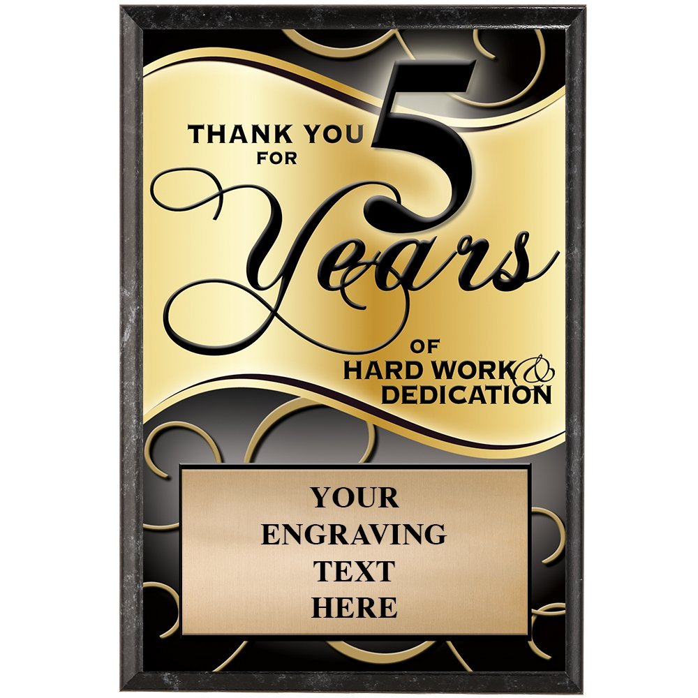 Corporate Plaques - 5 x 7 Thank You For 5 Years Recognition Trophy Plaque Award