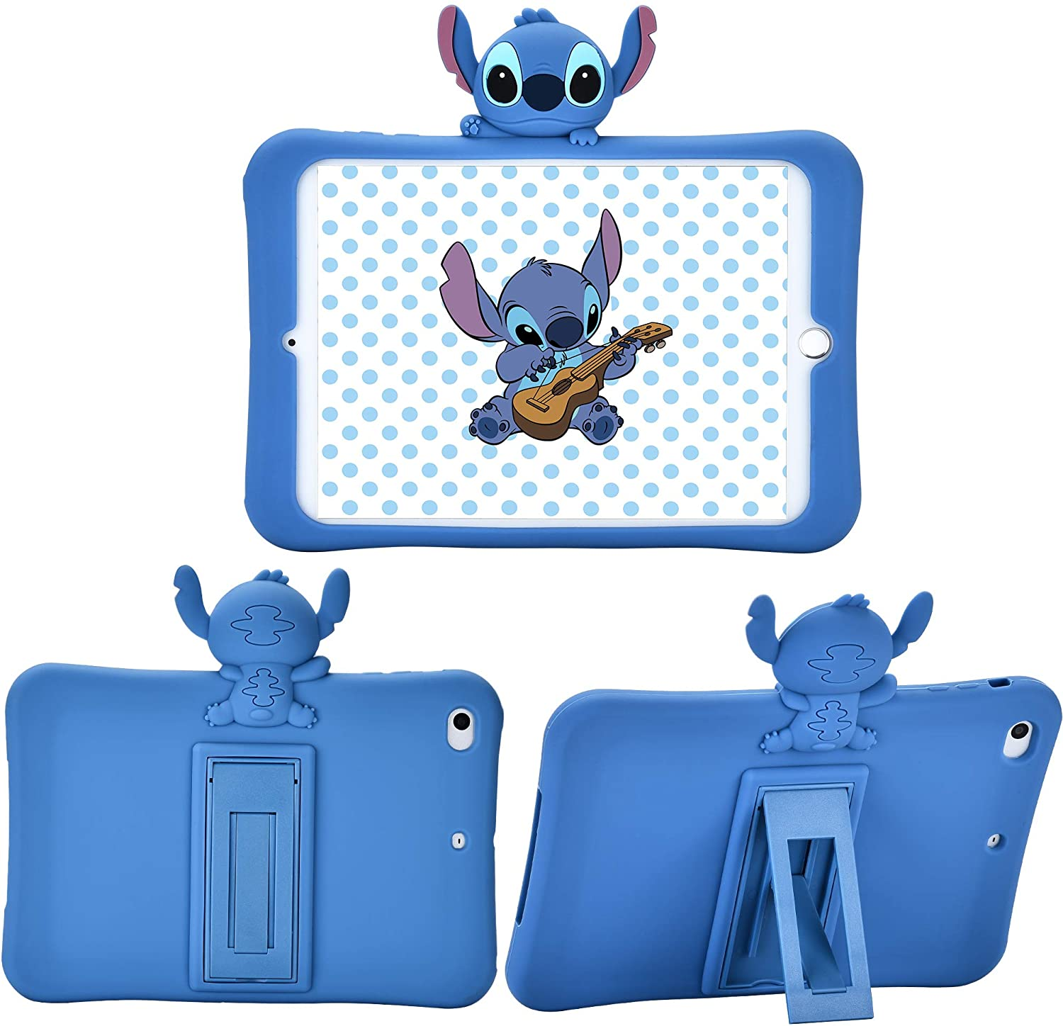 Logee Stitch Kickstand Case for iPad Mini 1/2/3,3D Cartoon Animal Cute Soft Silicone Rubber Character Design Blue Holder Stand Cases,Kawaii Fashion Fun Cool Protective Cover for Kids Child Teens Girls