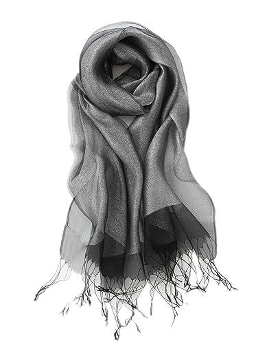 Prettystern - capa decorativa poco de seda y material metálico brillante bufanda larga - muchos colo...