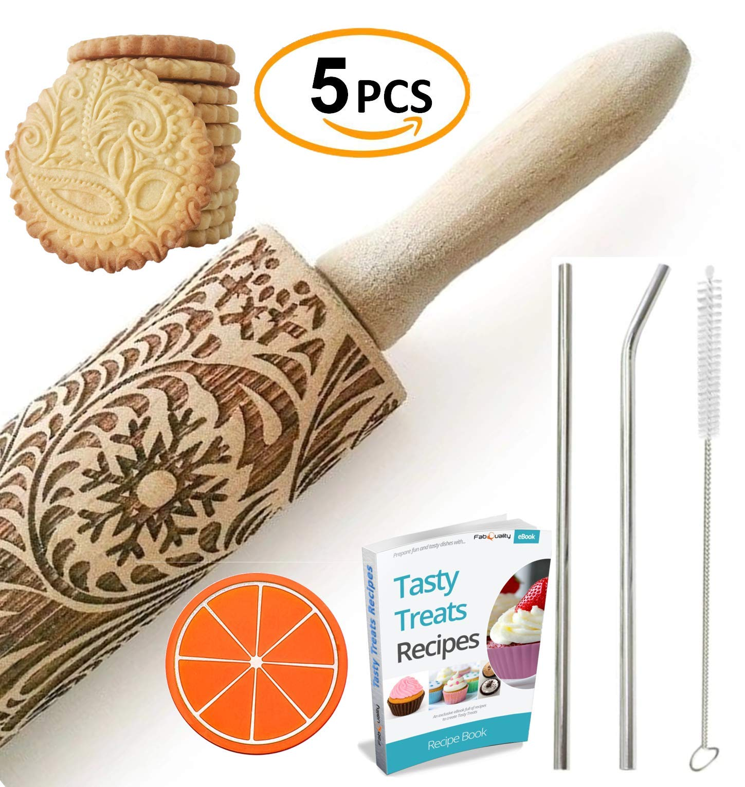 """Paisley Embossed Rolling Pin 16"""" Engraved Rolling Pin for Baking + Cute and Lightweight Wooden Rolling Pin for Kids and Adults to Make Cookie Dough – Attractive Professional Cookie Angel Food 1 START HAVING FUN IN THE KITCHEN WITH ALL YOUR FAMILY. Our textured rolling pin 16 Inch is very easy to use, so have some fun using this engraved rolling pin with your whole family. This embossed rolling pin can be used for fancy pastry decorations, cake decorations, shortbreads, basic biscuits, play dough, and even clay. This wood rolling pin can also be used as a kid's toy. EASY TO CLEAN:You only need to wash under running water and dry in the air,they will not take up too much space in the kitchen drawer ROLLING-PINS can be a really nice housewarming and pretty gift for your friends, kids and your kitchen."""