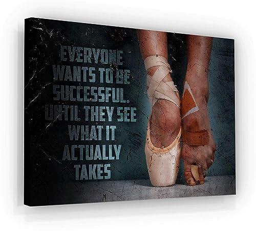 Ballet Price Of Success Motivational Wall Art Canvas Print