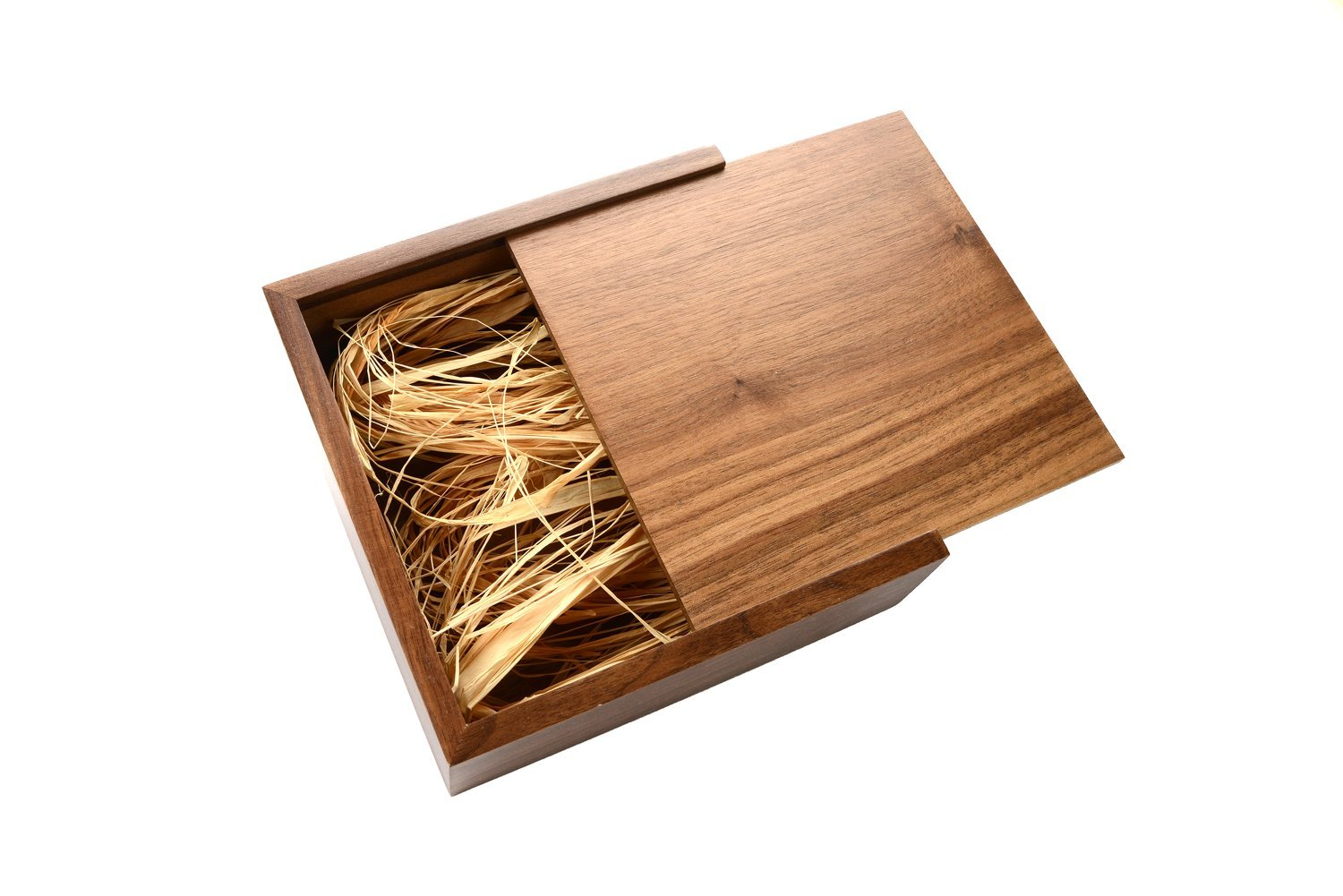 Walnut Wooden 4x6 Photo Box - Single Item - Holds up to 120 Prints - Filled with Raffia Grass