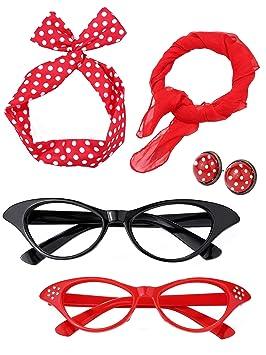 Satinior Juego de Accesorios de Disfraz de Mujer de los Años 50 Bufanda Diadema Pendientes Gafas de Ojo de Gato para Fiesta (Conjunto de Colores 2)