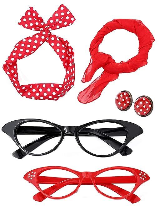 Donna Anni 50 Accessori Costume Set Ragazza Sciarpa Fascia per Capelli  Orecchini Occhiali Occhio di Gatto