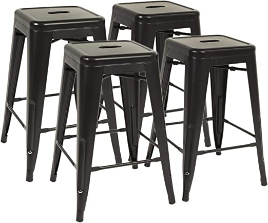 Gray Bonzy Home Bar Stools Set of 4 24 inches Metal Bar Stools Farmhouse Barstool for Kitchen Indoor//Outdoor Backless Bar Stools Stackable Counter Height Barstools
