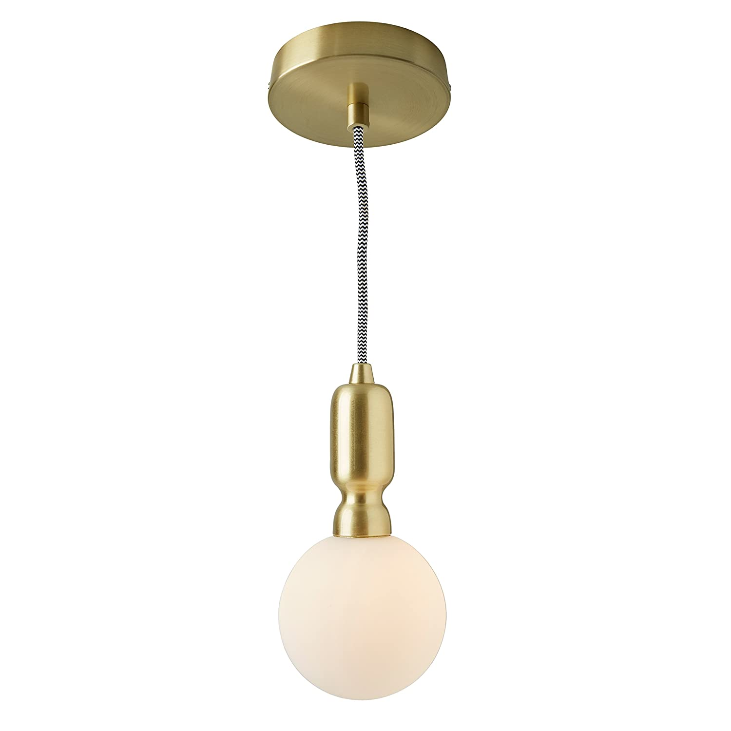 Rivet Diana Modern Globe Pendant With Bulb, 80 H, White and Gold
