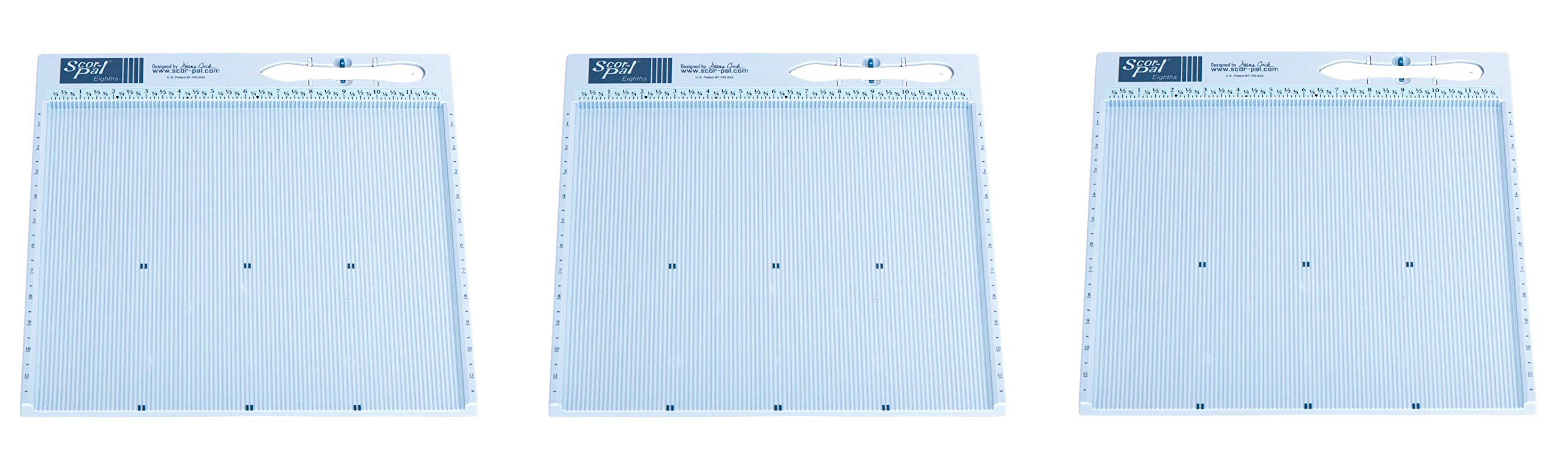 Scor-Pal SP108 Eighths Measuring and Scoring Board, 12'' by 12'', 1/8'' Space Grooves (3-(Pack))